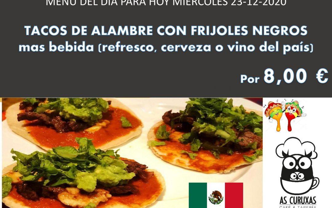 Tacos de alambre con frijoles negros