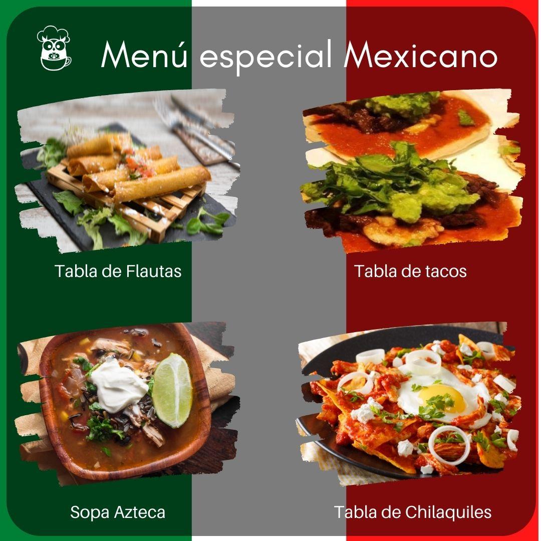 menú especial mexicano as curuxas
